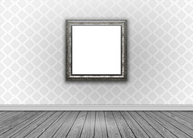 ダマスク壁紙空白額縁、木製の床と部屋のインテリア