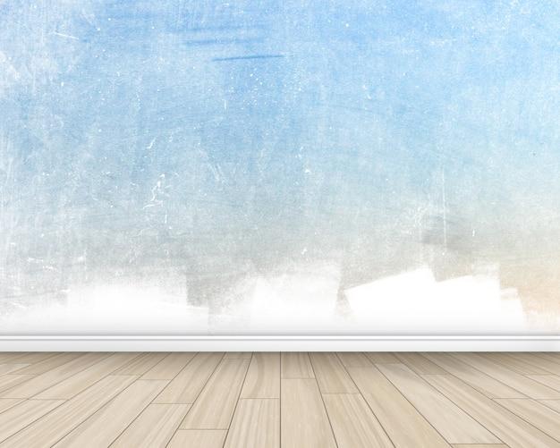 塗装壁、木製の床とグランジスタイルの部屋のインテリア