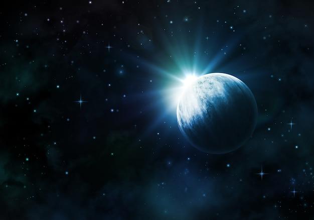 Ночное небо фон с вымышленной планеты туманности и звезды