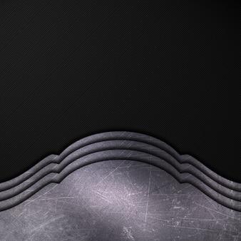 Поцарапанный металл на фоне темного углеродного волокна