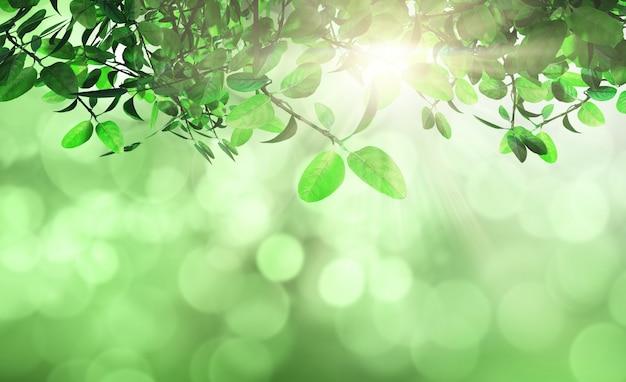 Листья и трава против дефокусированного фона