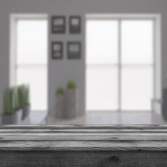 Трехмерный деревенский стол, выходящий на современную комнату с дефокусированным