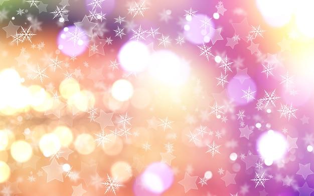クリスマスの背景に雪片と星