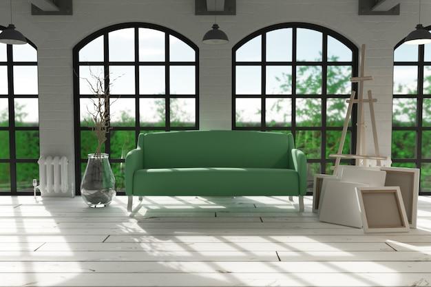 モダンなアパートメント設定のソファ