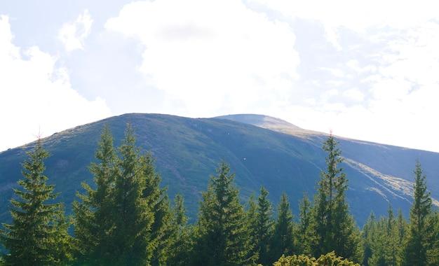 青い空を背景の山々