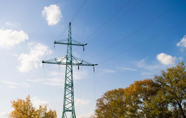 青い空を背景に高電圧線