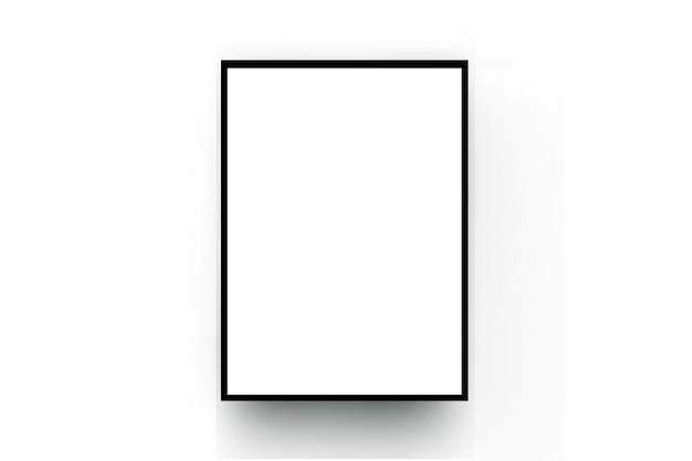 白い部屋の壁に黒い木枠