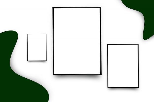 白い額縁、床、白い部屋の壁に黒い枠線