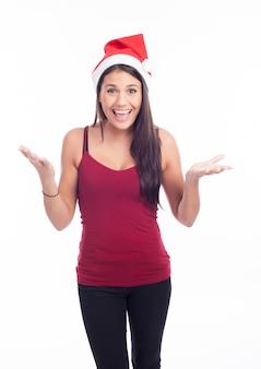 サンタ帽子で美しい女性