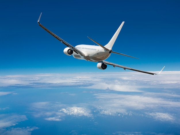 白い旅客ワイドボディ飛行機