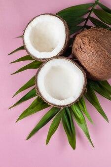 ピンクの背景の緑の葉とココナッツ。