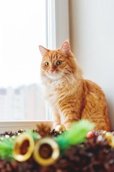 Милый рыжий кот сидит на подоконнике возле рождественский венок ручной работы. пушистые домашние и ремесленные новогодние украшения.
