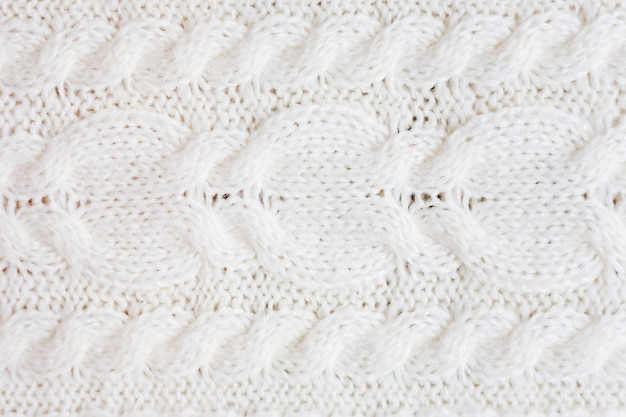 ウールの白いセーターの質感。