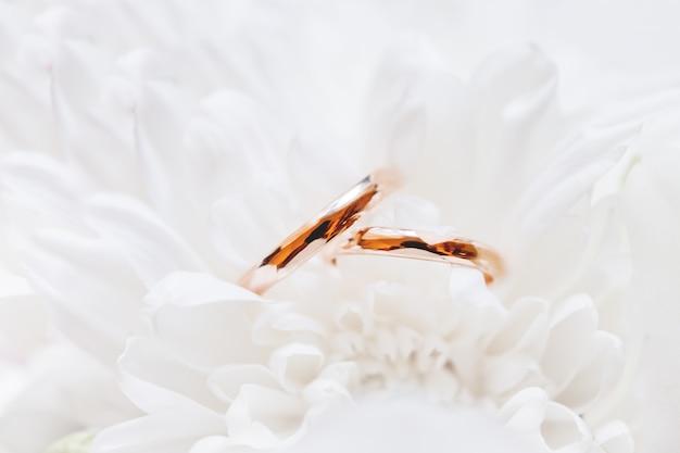 黄金の結婚指輪は、ブライダルブーケの菊の花の中にあります。愛と結婚の象徴。