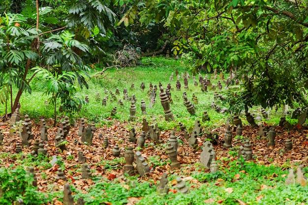 草の間で小さなモニュメントと墓地。シンガポールの墓地。