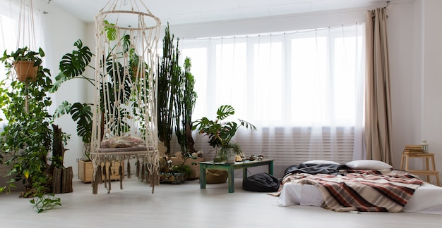 たくさんの植物と床にベッドが置かれたモダンなワンルームマンションのインテリア