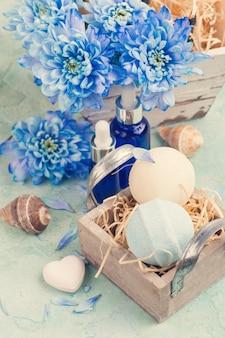 青い花と入浴爆弾