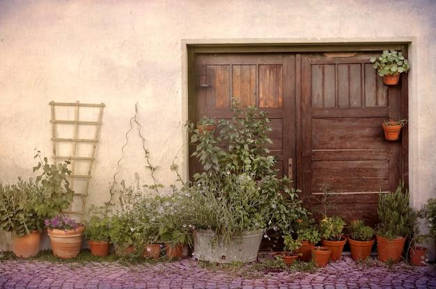 植木鉢とプロヴァンスの古いドア