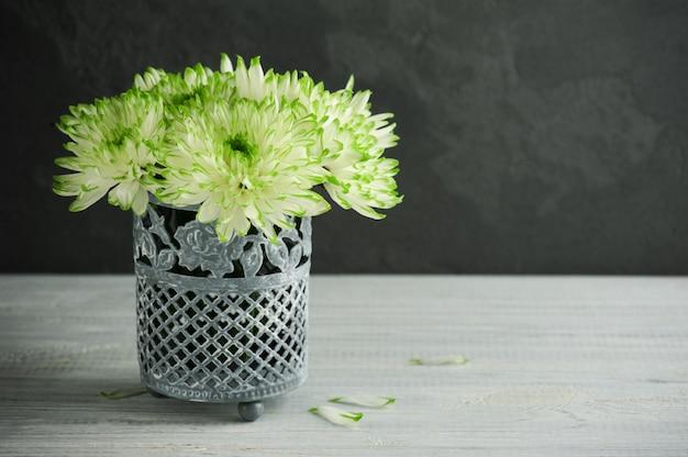 ブリキの鍋で緑の菊