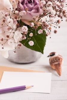 ブリキの鍋のアジサイの花