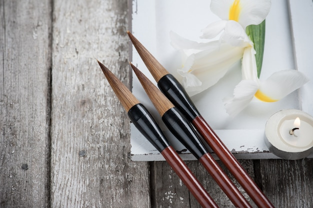キャンドル、アイリス、中国語の筆ペン