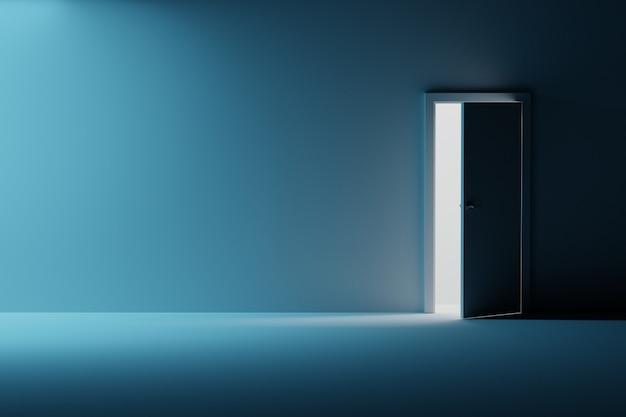 開いたドアと空の部屋の壁のモックアップ