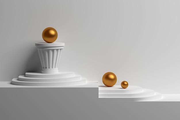 Настенный макет с классическими архитектурными элементами: постамент, столб, шары