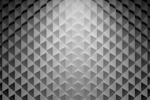 三角形の幾何学的形状を繰り返して、ピラミッドの付いた陰影付きサーフェスの平面図。