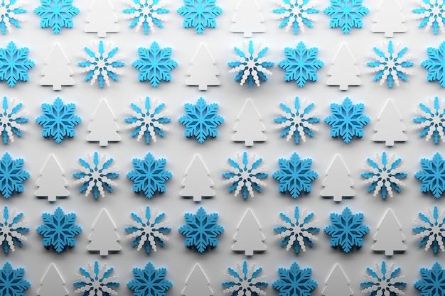 雪とクリスマスツリーの繰り返しのクリスマスパターン