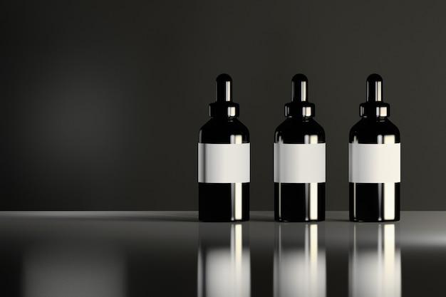 Три блестящие черные косметические бутылки с белыми метками, стоя на отражающей блестящей поверхности. дизайн упаковки косметических товаров.