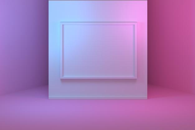 Пустая пустая рамка и стены галереи.