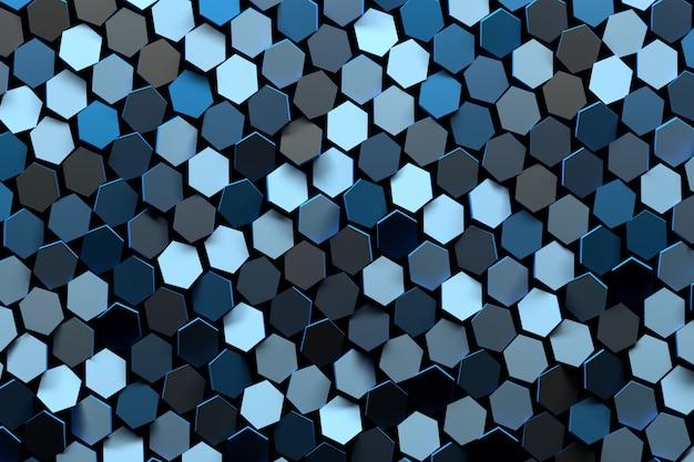 多くのランダムな色の光と濃い青の六角形の抽象的な背景。