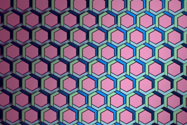 緑、青、ピンクの色で繰り返される構造化六角形の幾何学模様。