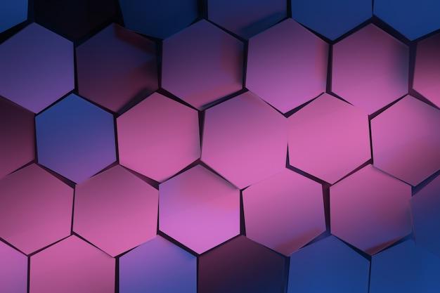 青とピンクの六角形