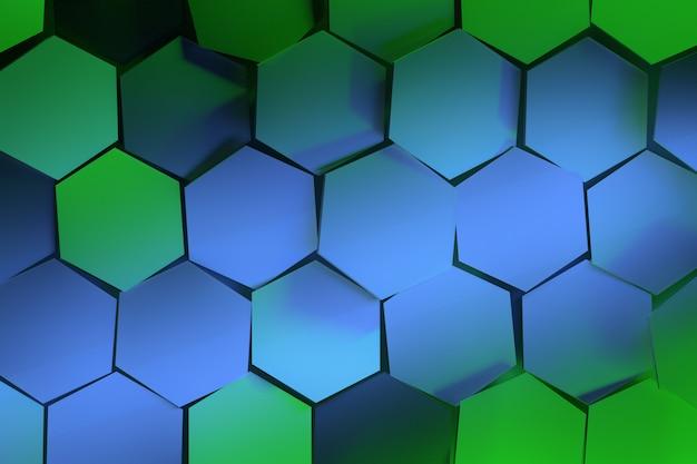 緑と青の六角形