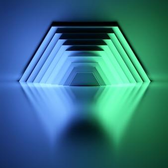 光沢のある反射面の上にネオンブルーとグリーンの光で照らされた黒い半六角形のパネル。