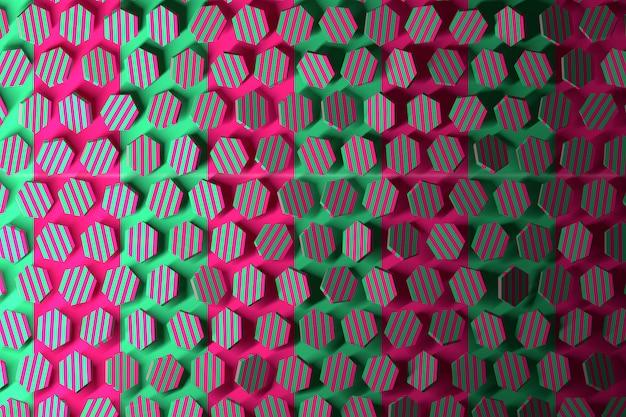 ピンクと緑の六角形のカラフルなパターン。