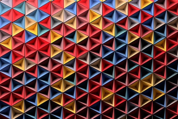 ランダムに赤青黄色の幾何学的図形の背景