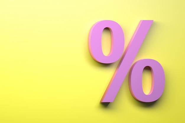 ピンクのパーセント記号は黄色の背景にサインオンします。