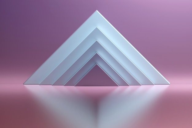 Абстрактная предпосылка с белыми треугольными формами над сияющей отражательной поверхностью. розовое пространство комнаты с геометрическими примитивными формами - белыми пирамидами.