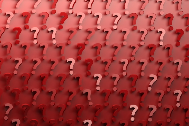 Шаблон с много случайно расположенных красных вопросительных знаков на красном фоне.