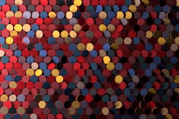 ランダムに赤青黄色のスパンコールのついた丸の背景。パーティーディスコグリーティングカードの背景。