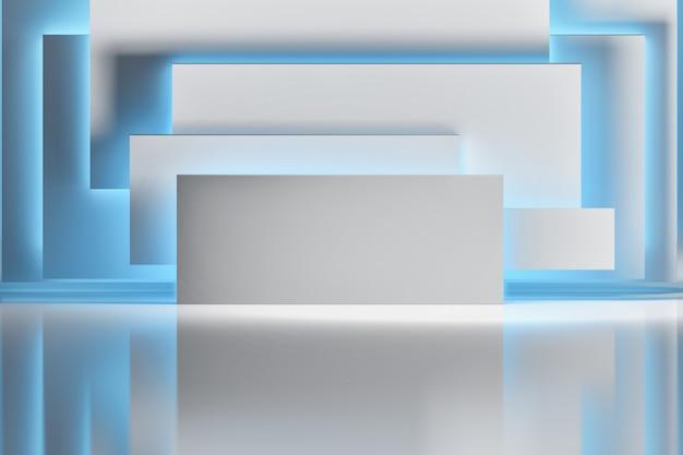 Абстрактная предпосылка с листами белой бумаги или формами прямоугольника загоренными голубым светом над сияющей отражательной поверхностью. пространство комнаты с геометрическими примитивными формами.