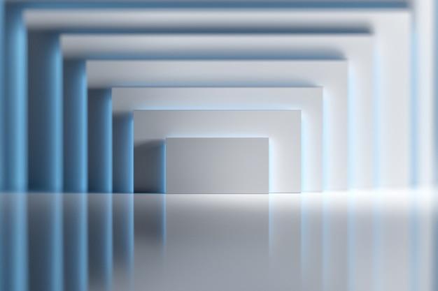 光沢のある反射面の上の青い光に照らされた白い四角形図形と抽象的な背景。