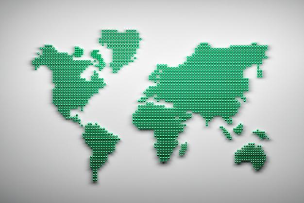 緑色のボールで作られた世界地図