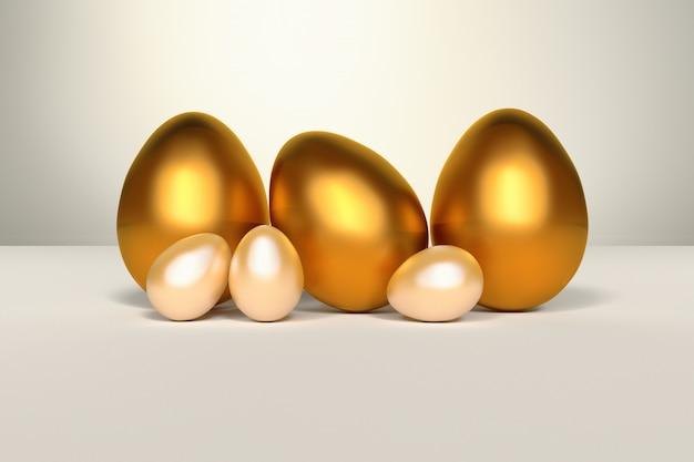 Набор золотых блестящих пасхальных яиц на белом