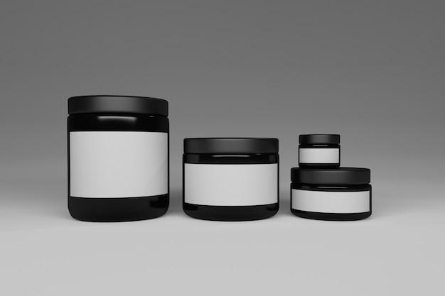 Четыре черные блестящие сосуды с белыми бумажными этикетками для текста или логотипа.