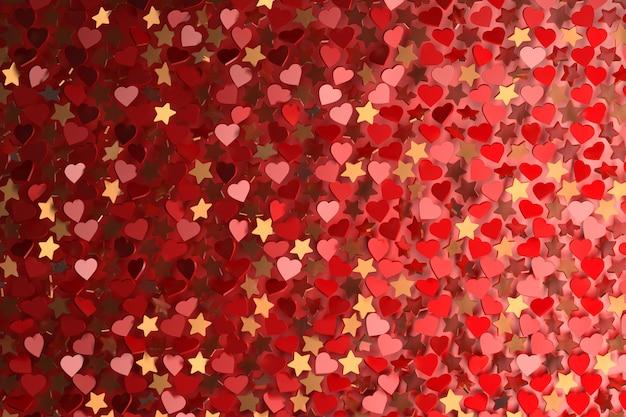 多くの心と星と抽象的な背景。