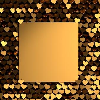 多くの黄金の光沢のある心とテキスト用の空白のカードとバレンタインのグリーティングカード。