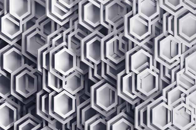 抽象的なランダムに配置された六角形の形とフレームとグレー色の背景。